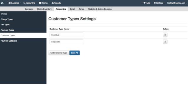 Customer type settings hotel management system